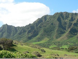 Green Mountains Kauai White Cloud Blue Sky